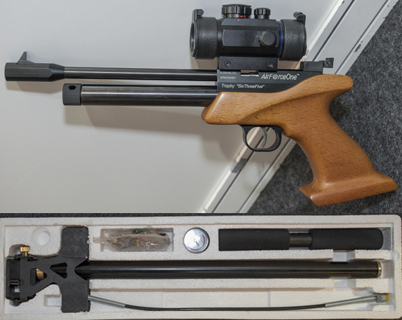 The .25 calibre version of AFO's CO2 Trophy pistol - the ThreeSixFive - with their Air-Ram high pressure pump below (shown boxed)