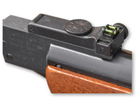 The 220's green fibre optics straddle its adjustable rearsight's notch...