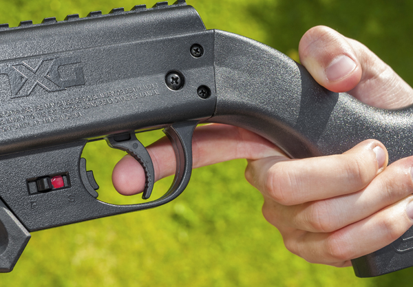 The non-adjustable trigger has an easy first stage